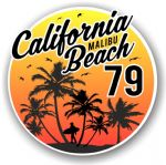 California Malibu Beach 1979 Surfer Surfing Design Vinyl Car Sticker Decal  95x95mm
